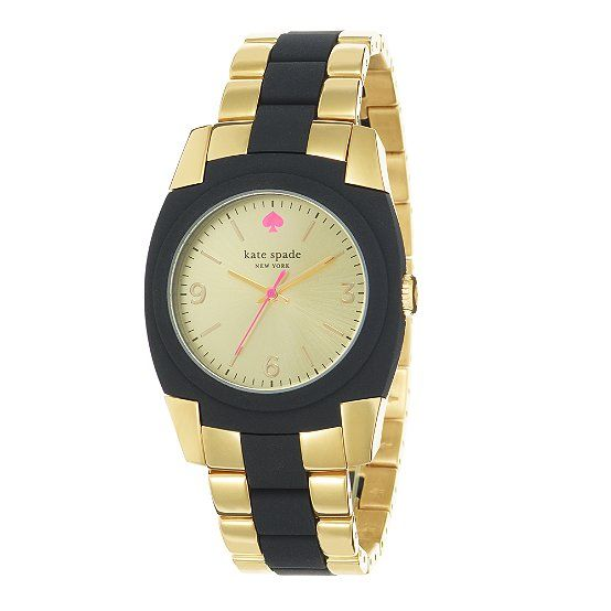 .:* L - kate spade    SKYLINE watch in gold and black (but the neon pink logo makes it)