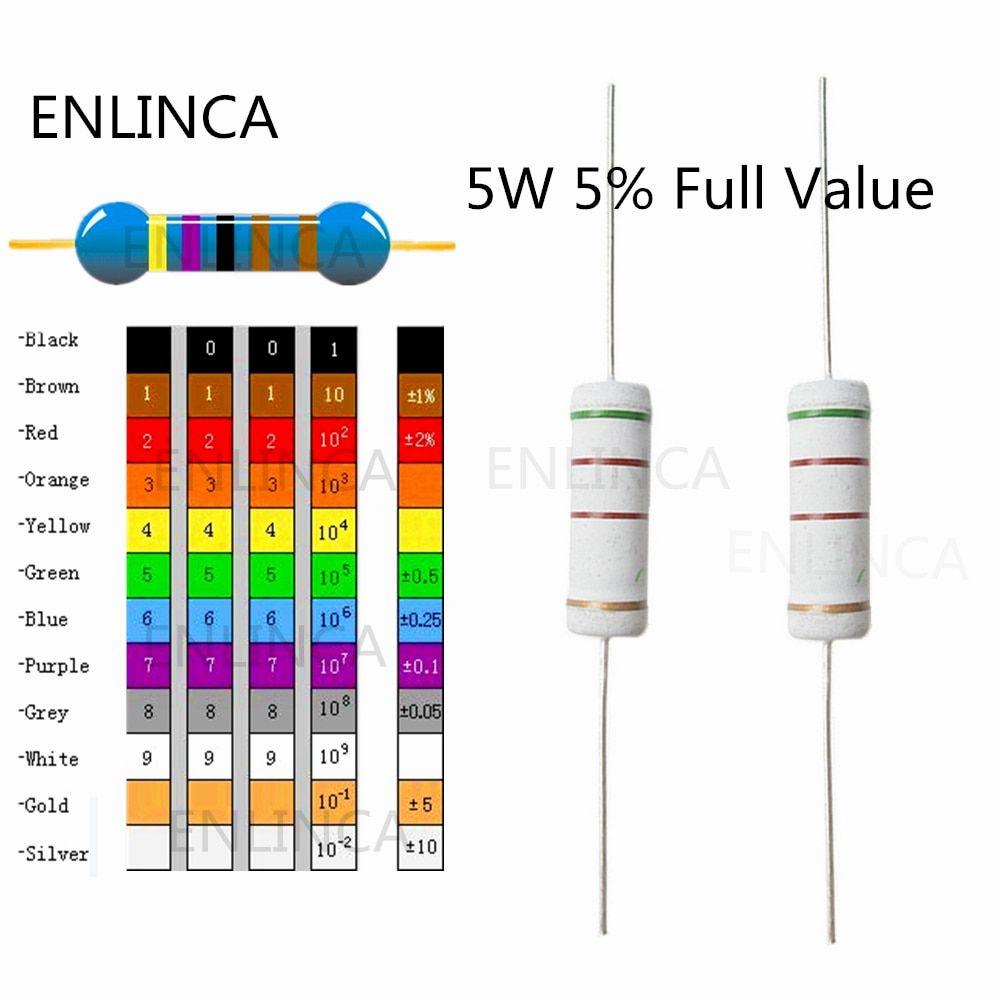 New Product 10pcs Lot 0 1r 910k 5w 5 1r 6 8r 10r 12r Color Ring Resistor Ohms
