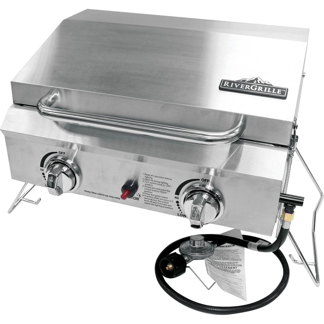 The Rivergrille Portable 2 Burner Stainless Steel Gas Grill Is Great For Picnics Camping Tailgating And More