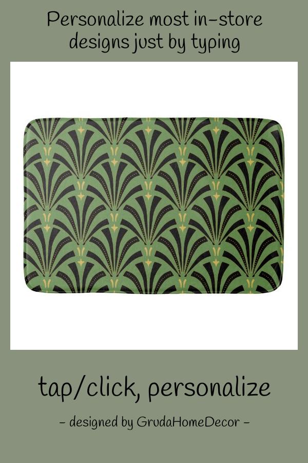 1920s Art Deco Pattern Bath Mat #black #vintage #modern #art #deco #BathMat
