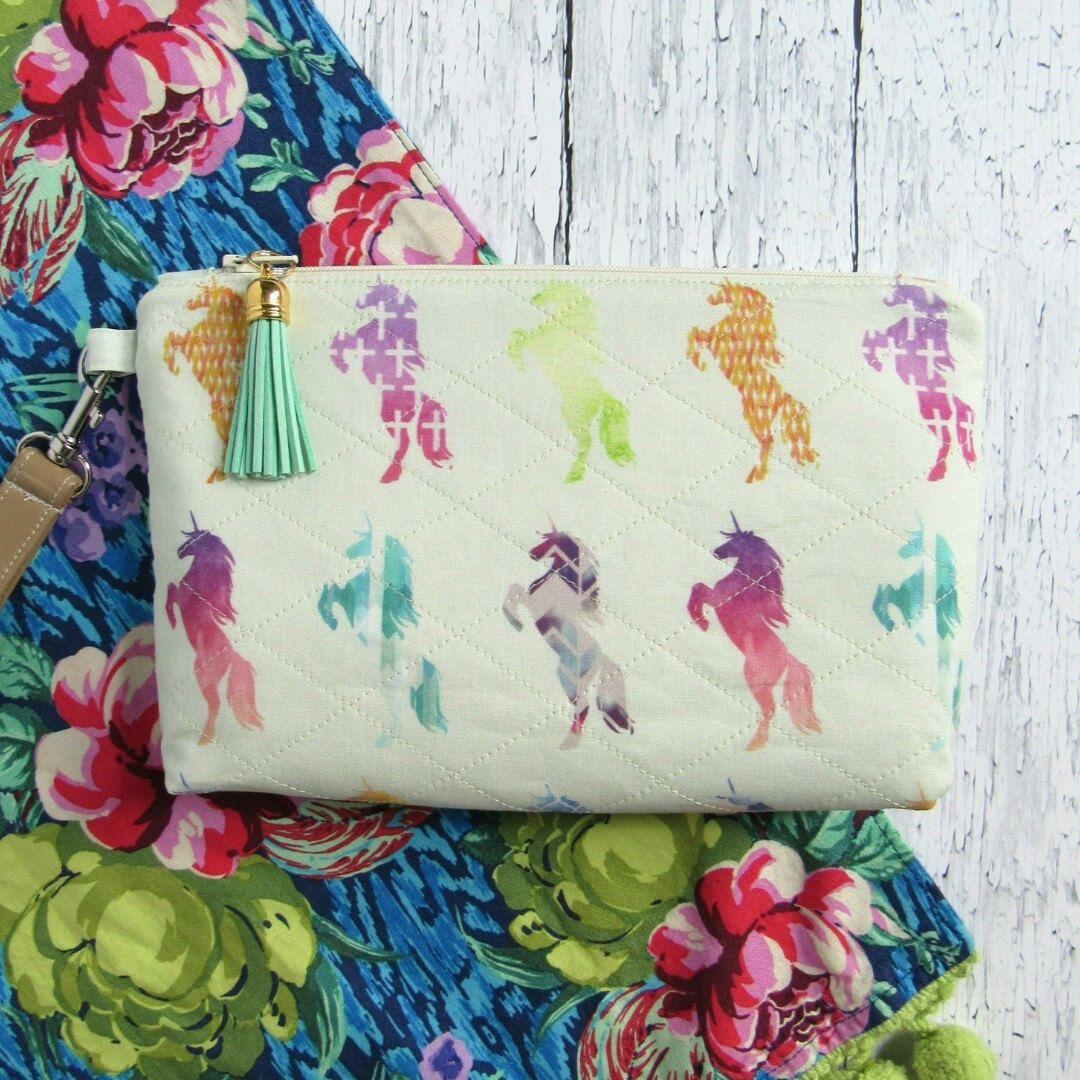 Unicorn wristlet Unicorn zipper bag Unicorn makeup bag