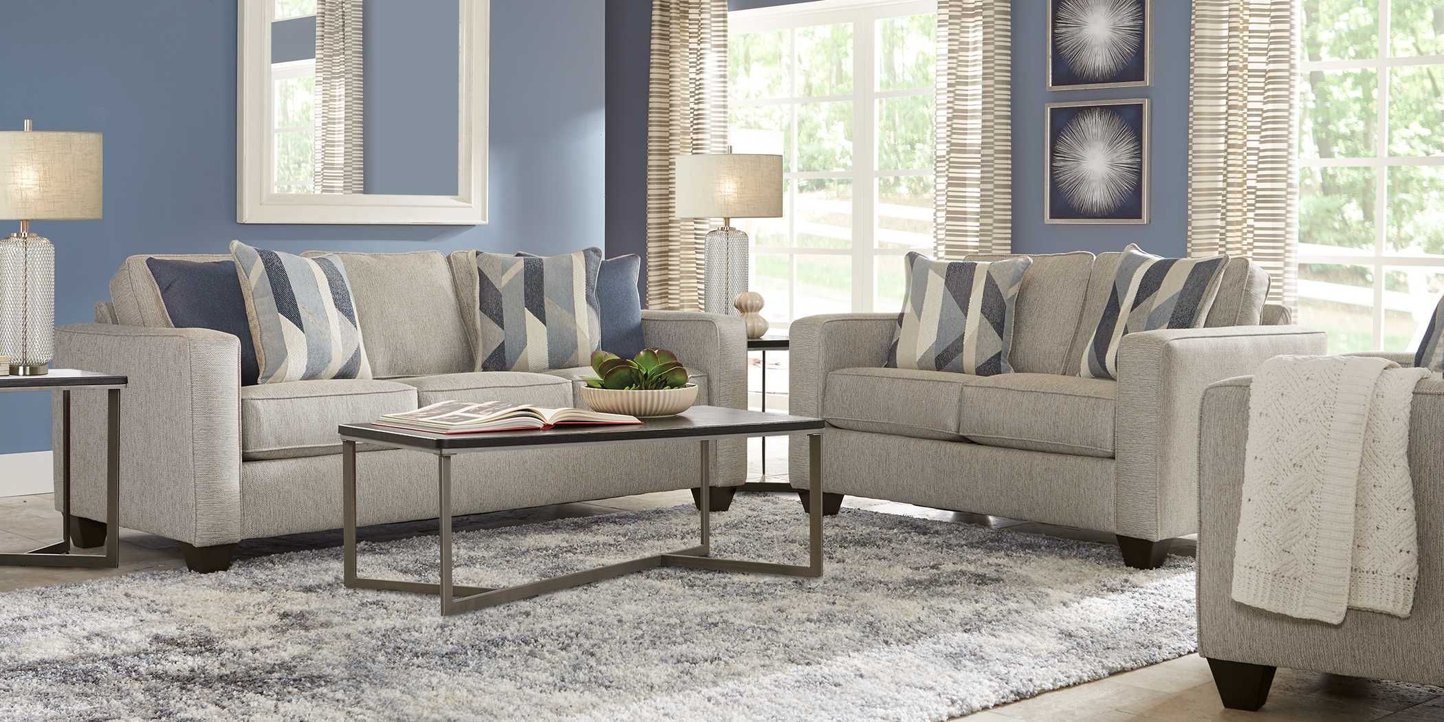 Cindy Crawford Home Westover Hills Brown 5 Pc Square Dining Room Grey Living Room Sets Living Room Sets Furniture Affordable Living Room Set