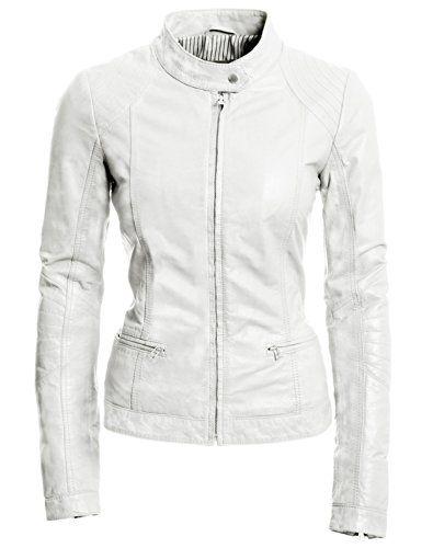 Sheep Fashion Women's White Sleekhides Genuine Jacket Leather White xPaYUnYv