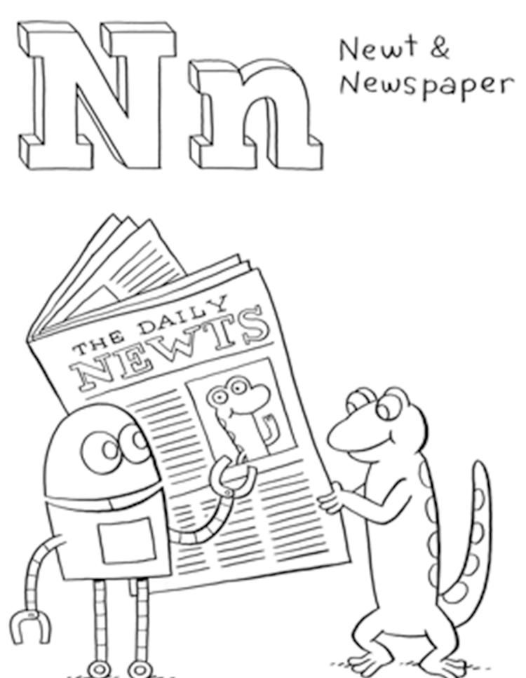 Newt And Newspaper Free Alphabet Coloring Pages Alphabet Coloring Pages Alphabet Coloring Coloring Pages