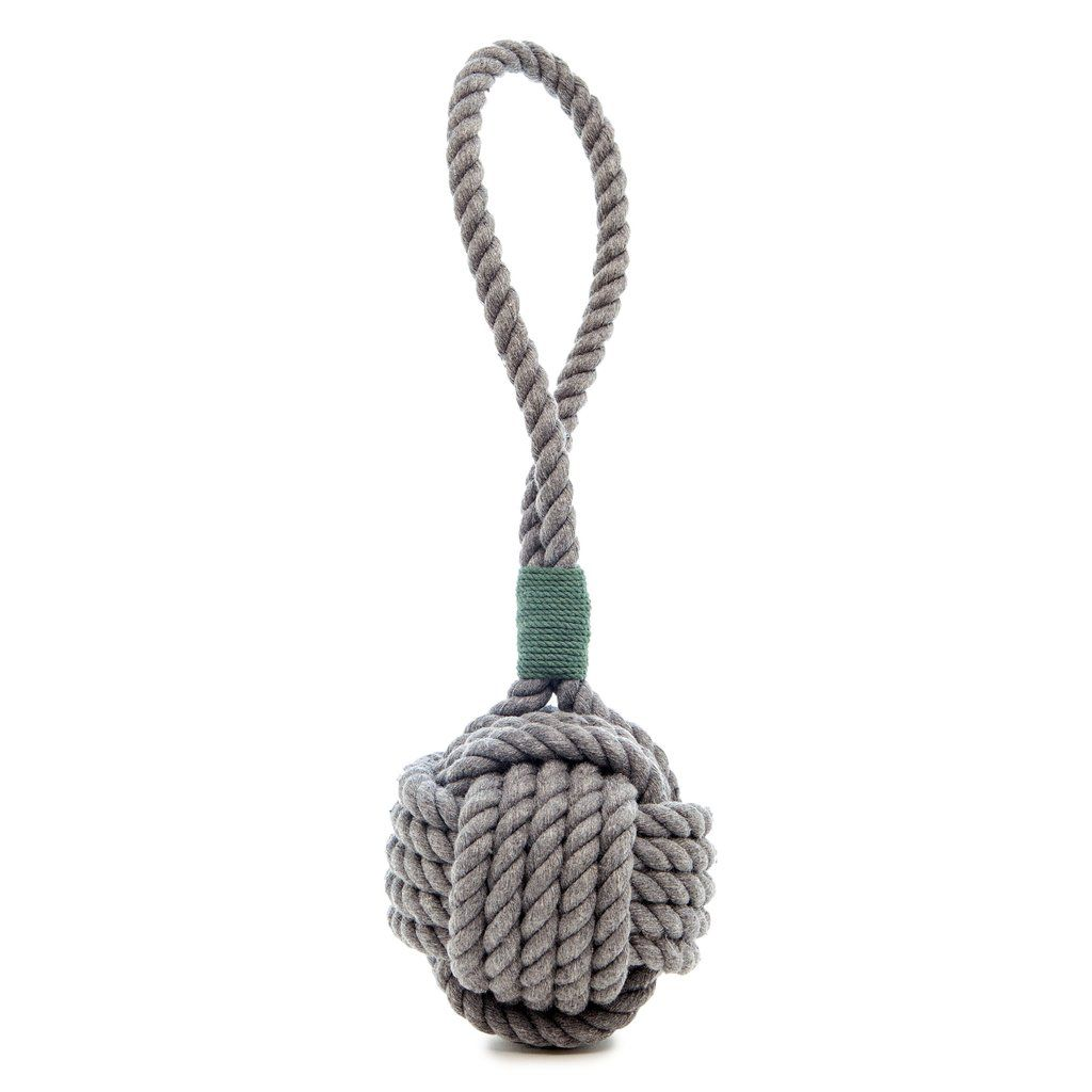 Mystic Knotwork Monkey Fist Dog Toy In Grey With Green Whipping
