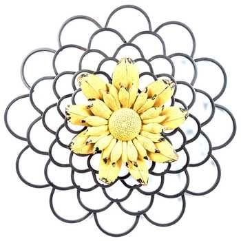 Layered Metal Flower Wall Decor with Colored Center | Pillows, Rugs ...