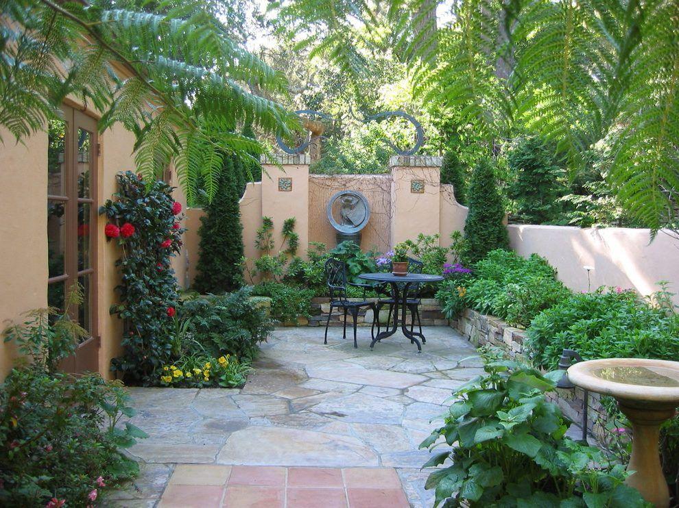 Courtyard Design Ideas Exterior Mediterranean With Wood Gate Front