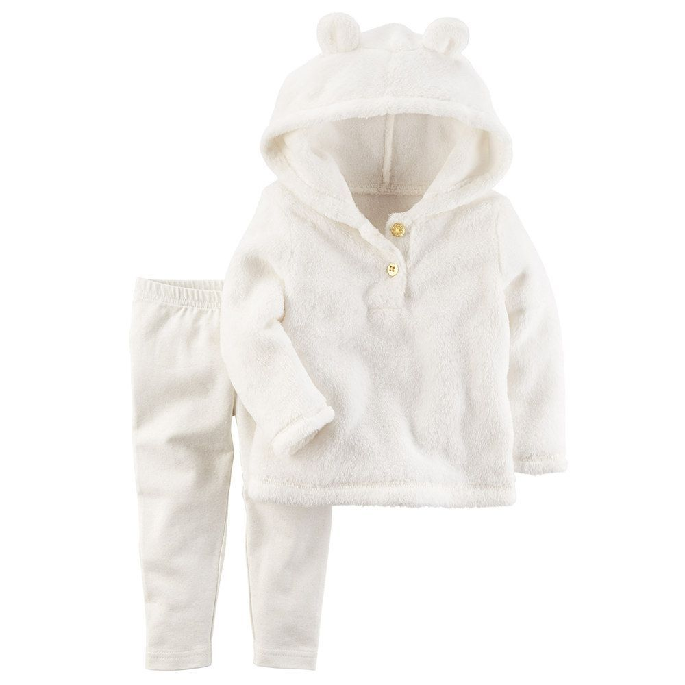 9bdd4b94f Carter s Baby Girl Ivory 3D Ear Sherpa Hoodie   Leggings Set