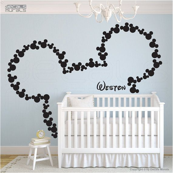 Bedroom Nursery decal Childs Bed Cot Crib personalised Sticker Mickey font