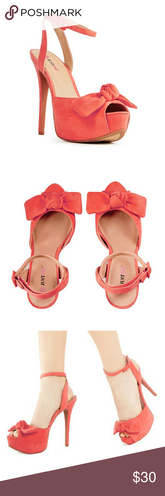 NIB Coral Peep Toe Heels Girly meets glamorous sophistication with this fresh pair. Peep toe with large accent bow. Stiletto heel with ankle strap. Shoes Heels