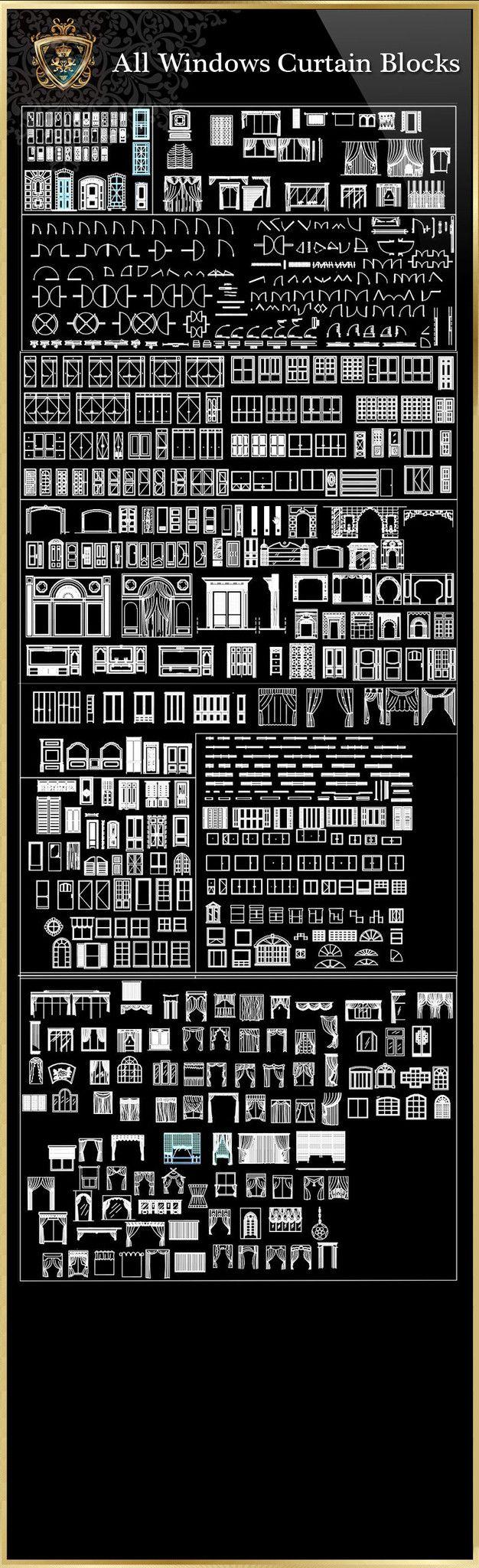 Windows Curtain CAD Blocks Collection – CAD Design   Free C