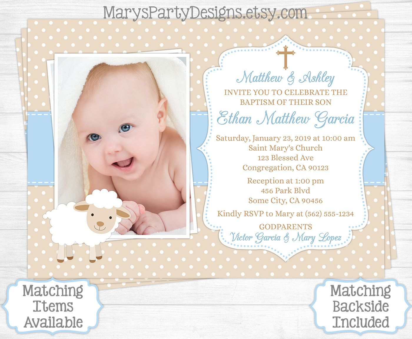 Beautiful lamb baptism invitation boy first 1st birthday christening lamb baptism invitation boy first 1st birthday christening baptismal baby tan beige blue sheep filmwisefo