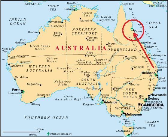 Carte Australie Grande Barriere De Corail.Une Carte Montrant La Grande Barriere De Corail Devoir D