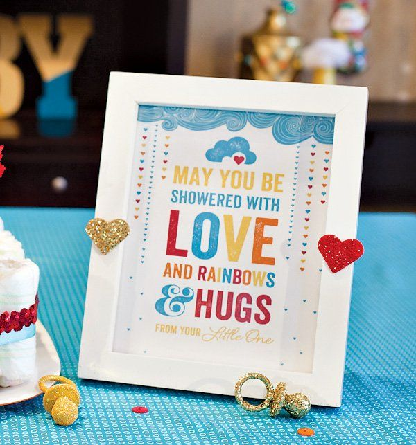 Great Retro Rainbow Baby Shower Printable Sign From Jenn Sbranti