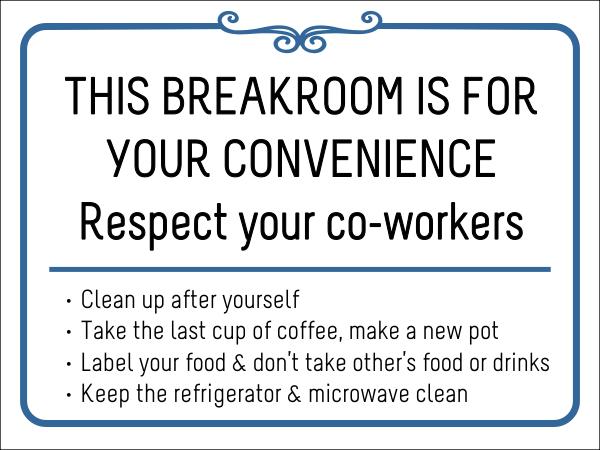 Breakroom Rules Respect Vinyl Sign Custom Signs Break Room Office Rules Sign Vinyl Signs