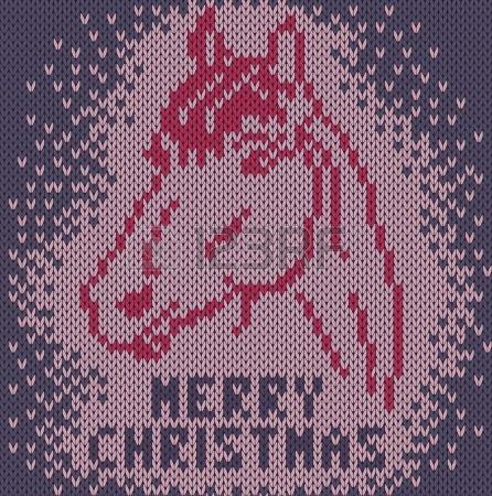 Fondo hecho punto con la imagen de un caballo Feliz Navidad photo