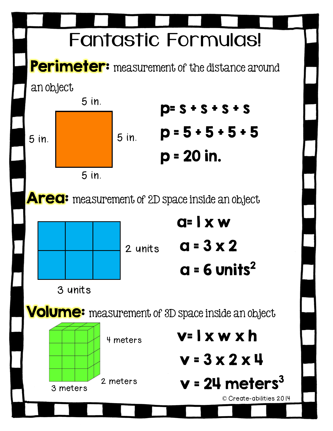 FREE!! Perimeter, area, and volume printable for math journals ...