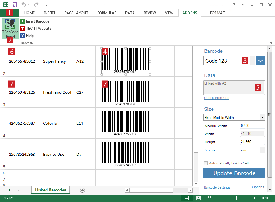 Barcode Excel Add In Tbarcode Office Create Barcodes In Excel Microsoft Excel Excel Barcode