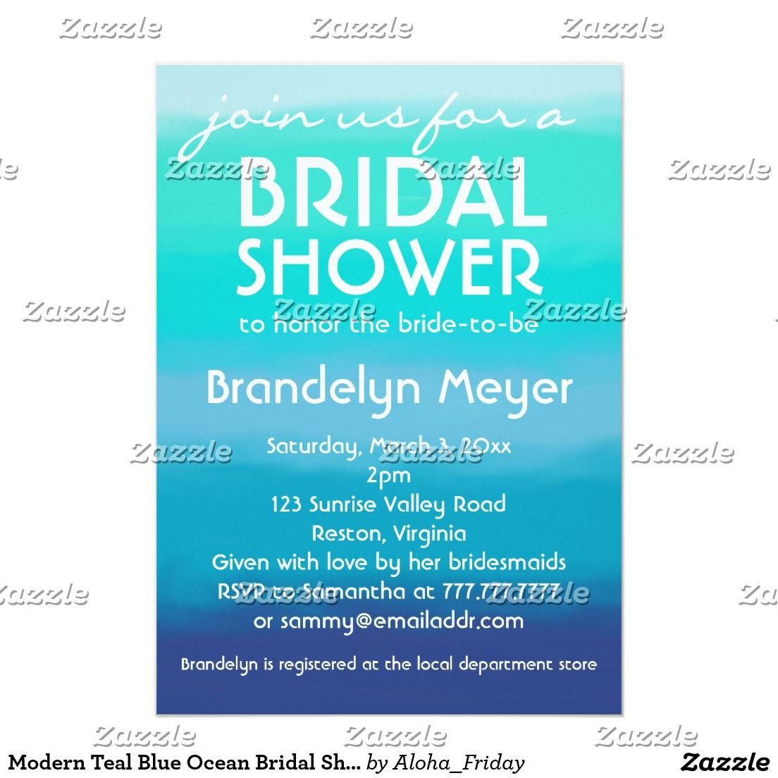 Modern Teal Blue Ocean Bridal Shower Invitations This stylish modern design features an ocean watercolor background with shades of blue and teal. Personalize the details of this invite with your bridal shower party. There is also plenty of space on the back for information. Simply click on the Customize It button to add text.