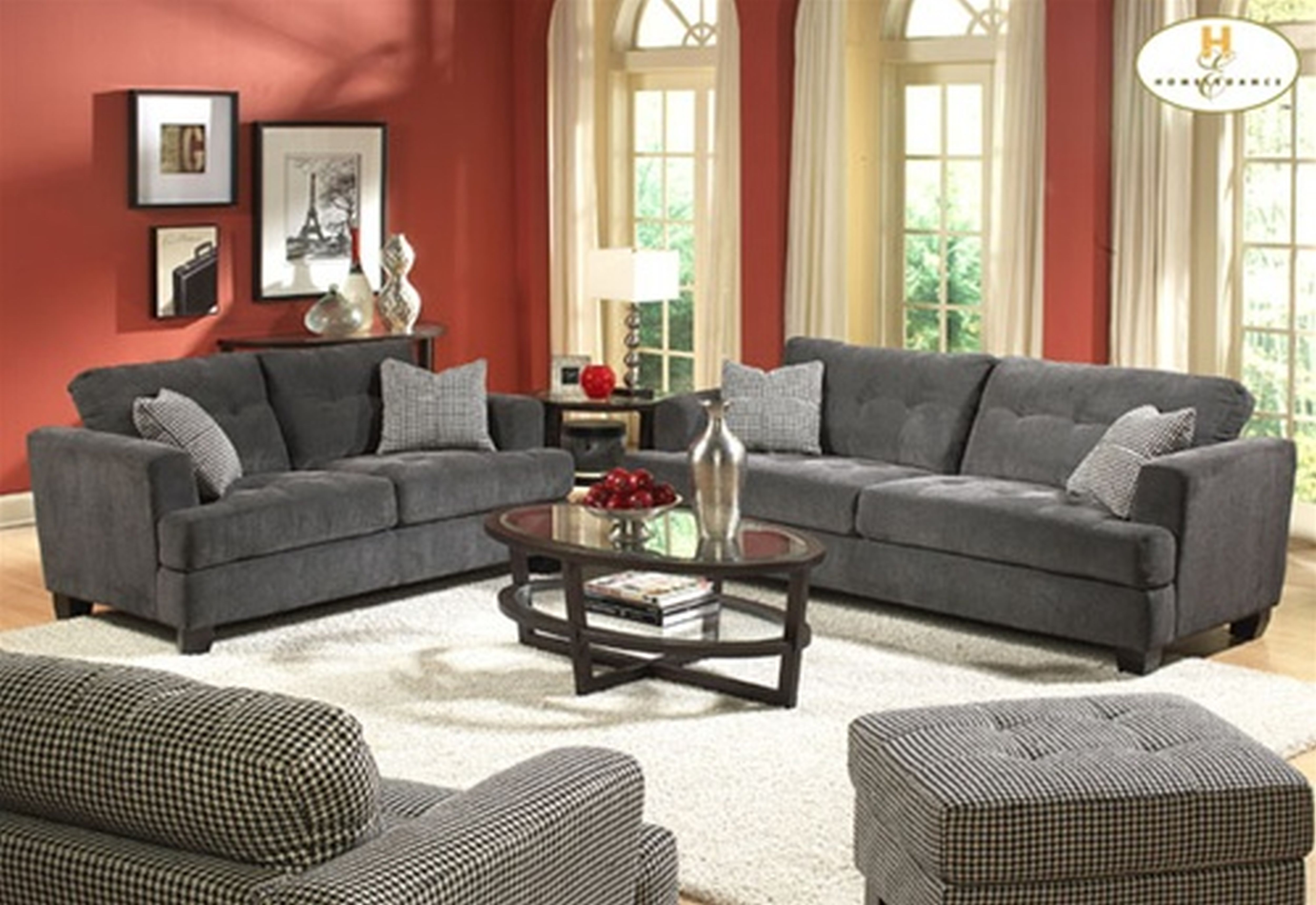 Living Room Red Wall Paint And Grey Sofas Color