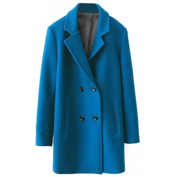 Blue Double Breasted Notched Lapel Long Tweed Coat ($64) ❤ liked on Polyvore featuring outerwear, coats, beautifulhalo, blue coat, blue long coat, tweed wool coat, tweed coat and double-breasted coat