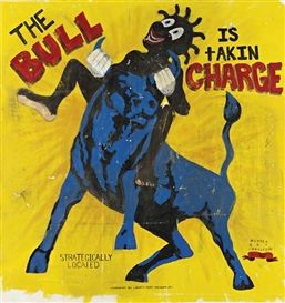 Michael Ray Charles' - The Bull.  Charles' work & research is an investigation into the Legacy of Historic Racial Stereotypes of African Americans. His work examines how African Americans have been viewed through American History & How They View Themselves as a result of Demeaning Stereotypes. http://media.mutualart.com/Images/2010_10/10/0012/980265/129311800954672651_54a528fd-b5ba-44ca-ad8d-b237e28d6222_198879_273.Jpeg