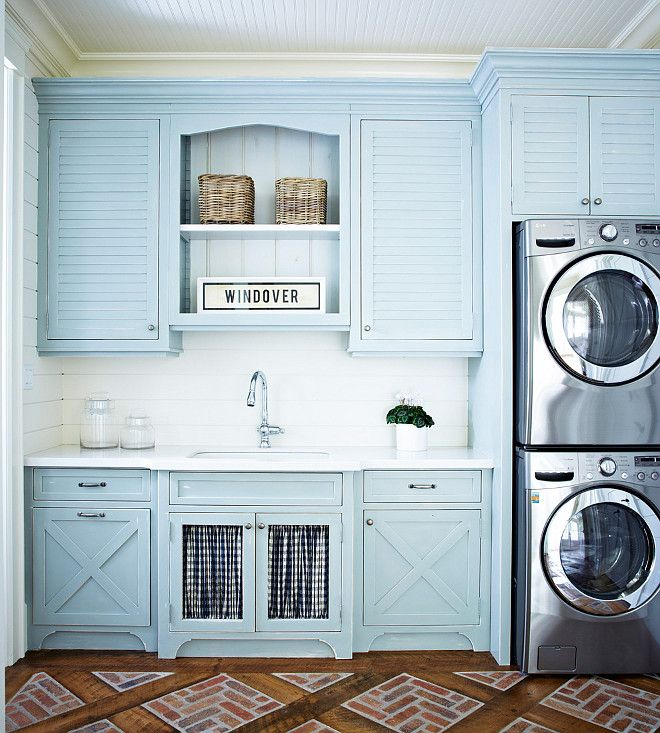 Perfect Coastal Laundry Room With Patterned Floors Blue