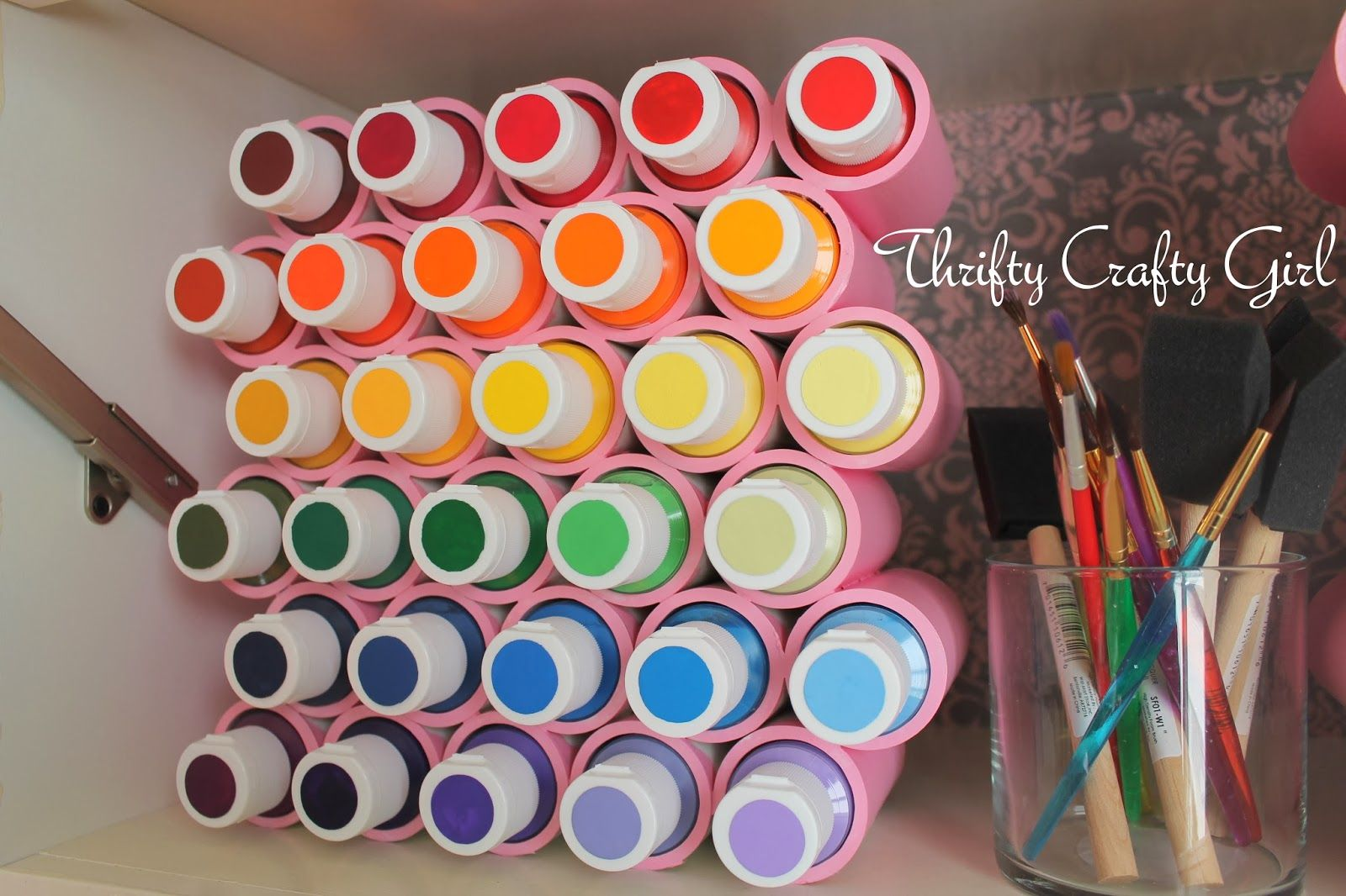Acrylic Paint Storage - Thrifty Crafty Girl