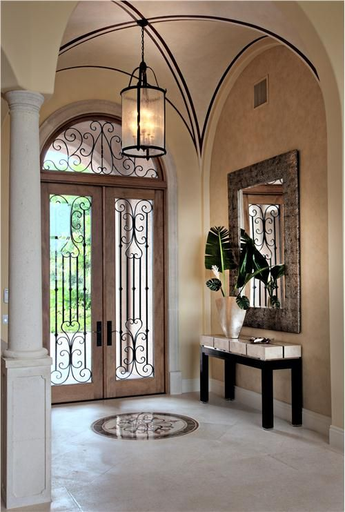 Contemporary Foyer With Beautiful Double Doors. #foyers Homechanneltv.com