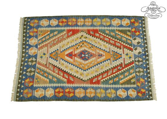 Rare BLUE Bordered Turkish Kilim Rug 5.0 x by AnatoliaCollection