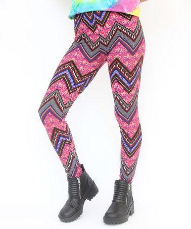 Another great find on #zulily! Pink & Purple Chevron Leggings - Girls #zulilyfinds
