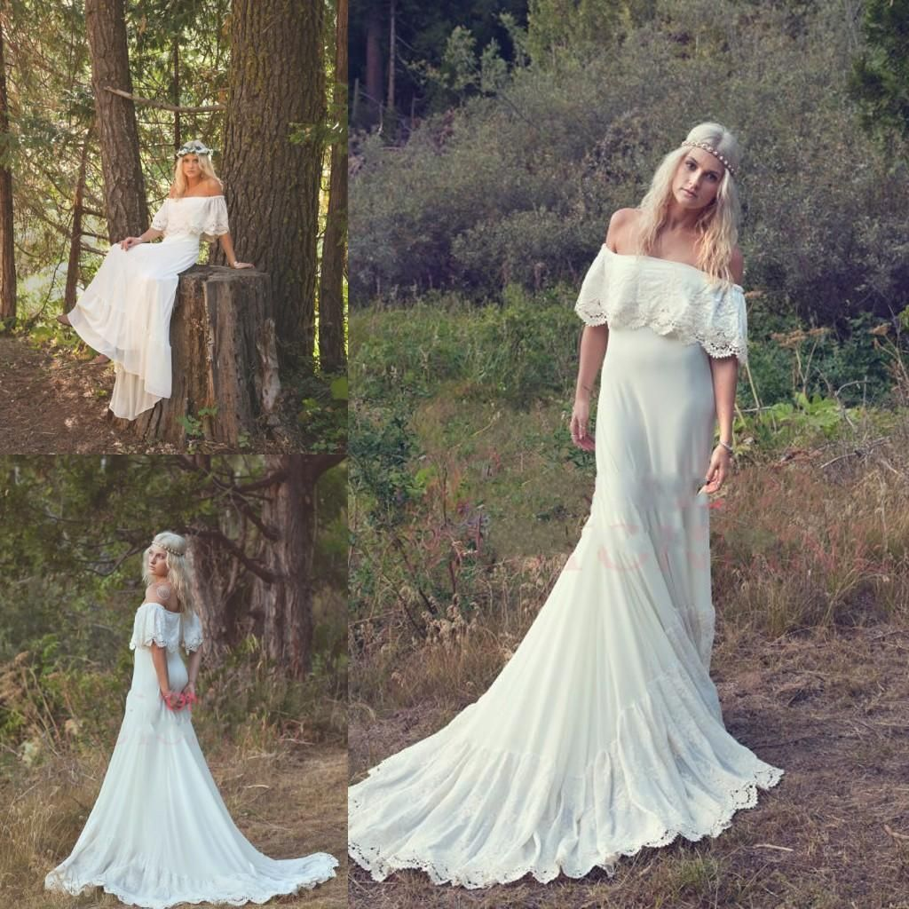 2014 bohemian wedding dresses cream ivory off the shoulder lace edge chiffon vintagebeach wedding