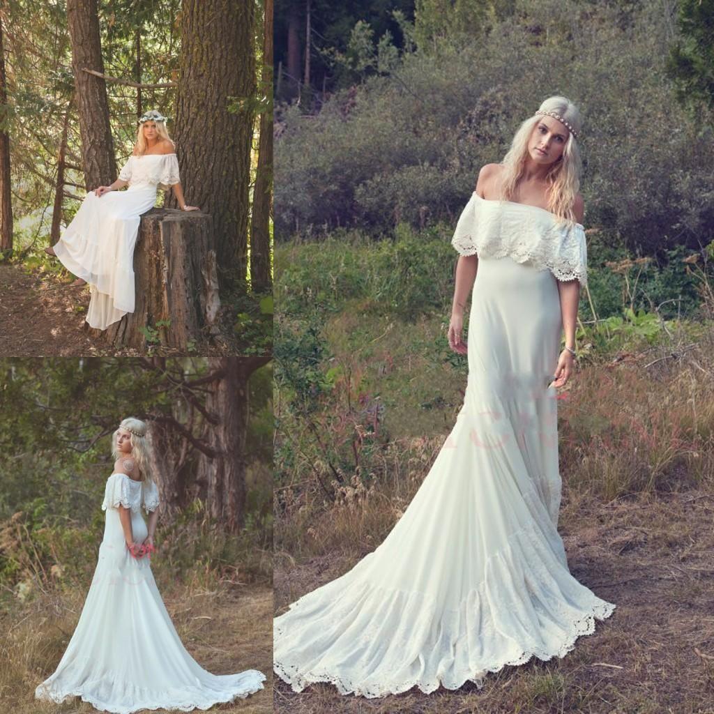 2014 Bohemian Wedding Dresses Cream Ivory Off The Shoulder Lace Edge