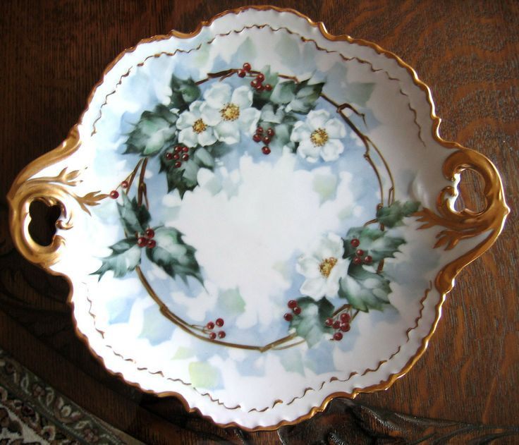 vintage porceline platter with Holly | Holly Plate Rosenthal Cake Plate Handles Berry Hand Painted Gold & vintage porceline platter with Holly | Holly Plate Rosenthal Cake ...