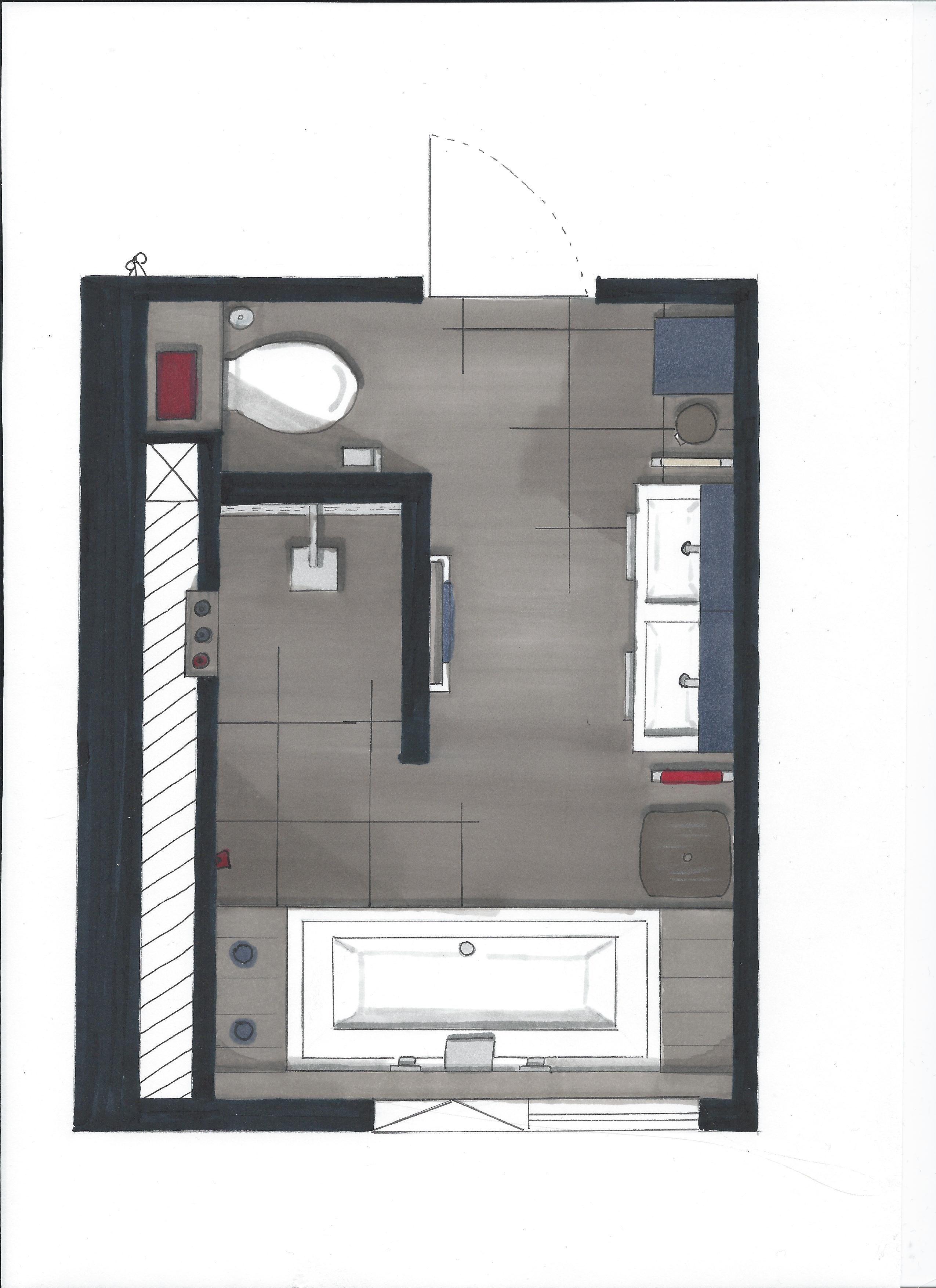 Plattegrond badkamer, inloopdouche, bad, dubbele wastafel en apart ...