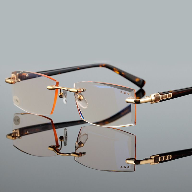 b8a510b1375 High Quality Fashion Rimless Reading Glasses Men Women Eyeglasses Points  For Women Reading Men s Diopter 1.0 1.5 2.0 2.5 3.0 3.5