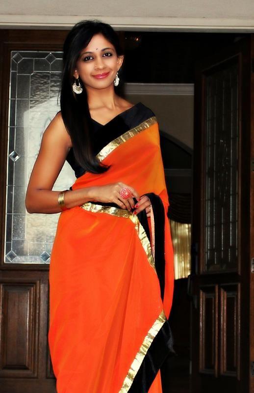 e7a0b38b26141a Orange and black saree Black Saree, Black Blouse, Lehenga Saree, Saree  Blouse,