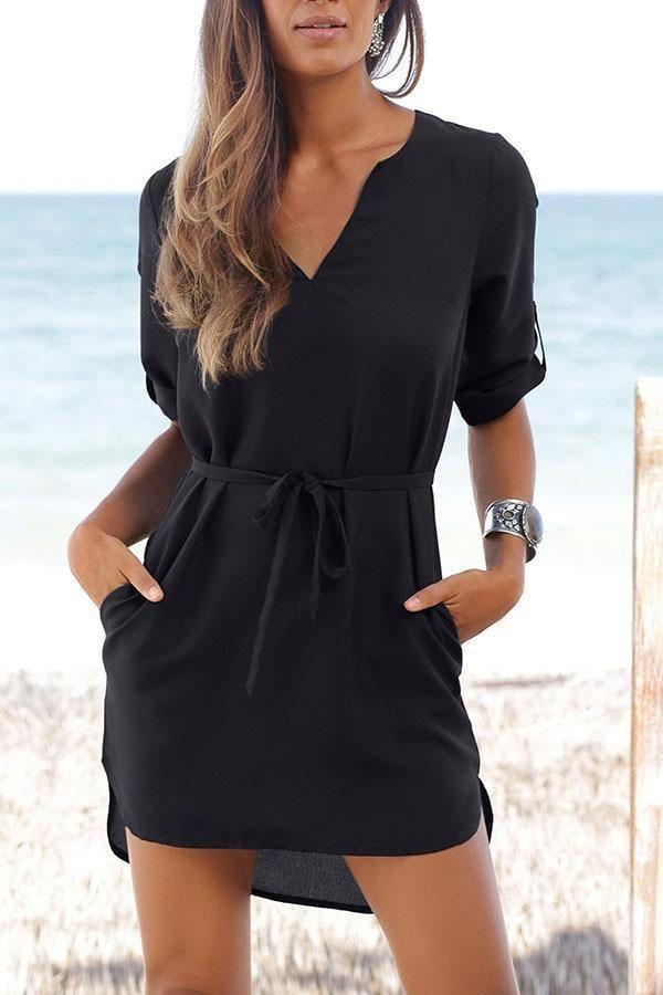 3ee4fba5eb 2019 的 V Neck Asymmetric Hem Belt Half Sleeve Casual Dresses ...
