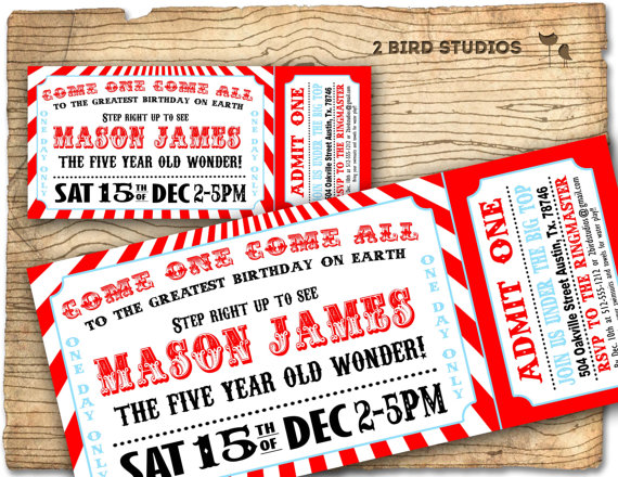Circus Invitation - Vintage Circus Birthday Invite - Carnival
