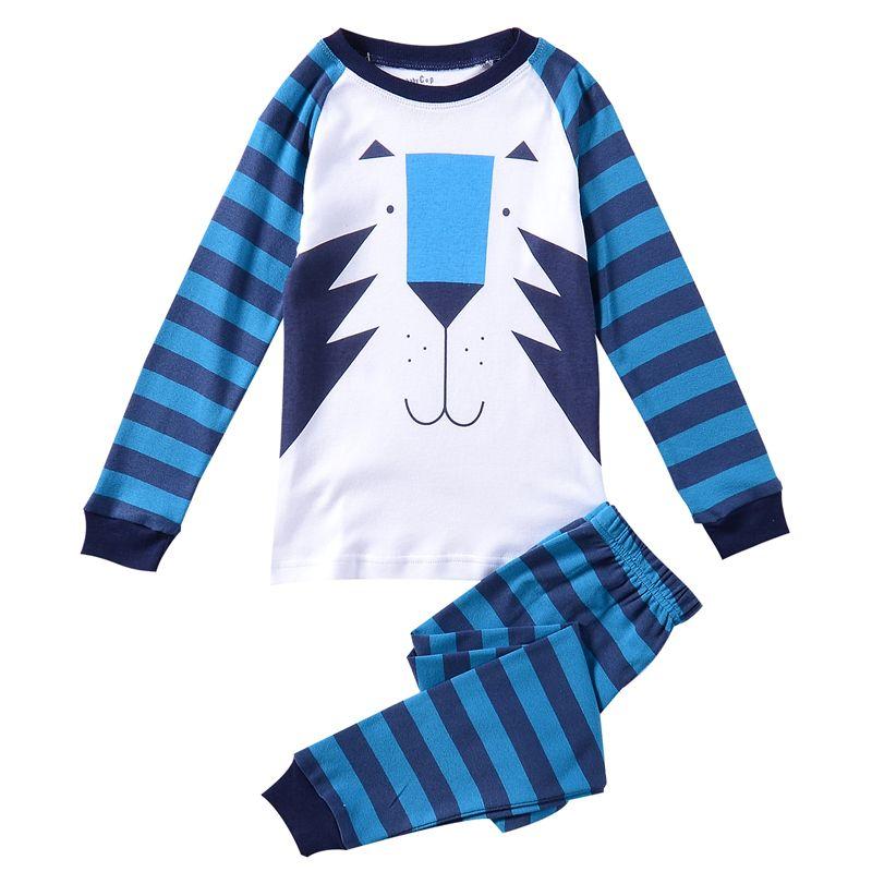Barato Bonito azul tigre listrado pijama de algodão Pijamas Pijamas de inverno Pijamas define meninos de manga comprida Sleepwear, Compro Qualidade Conjuntos de Pijama diretamente de fornecedores da China:                     Idade adequados          Tamanho          Top Comprimento          Busto
