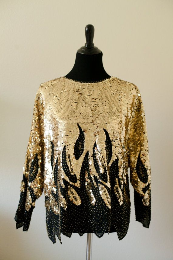 Black and Gold Sequined Top by MelancholyinMe on Etsy, $99.00