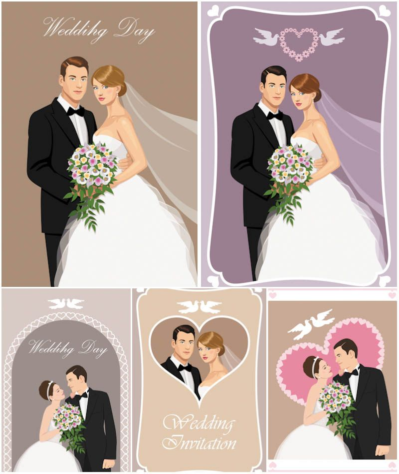 Wedding backgrounds for invitation cards with drawings