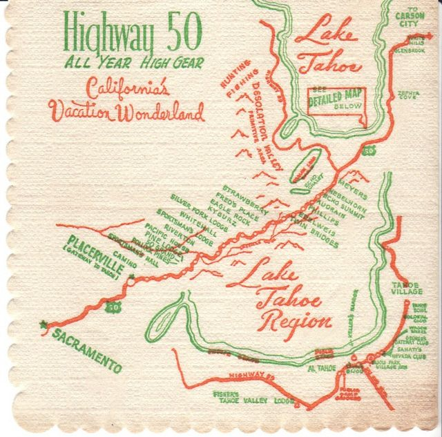 Highway 50 California Cocktail Recipe Book Cocktail Napkins Map Art