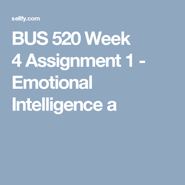 emotional intelligence assignment