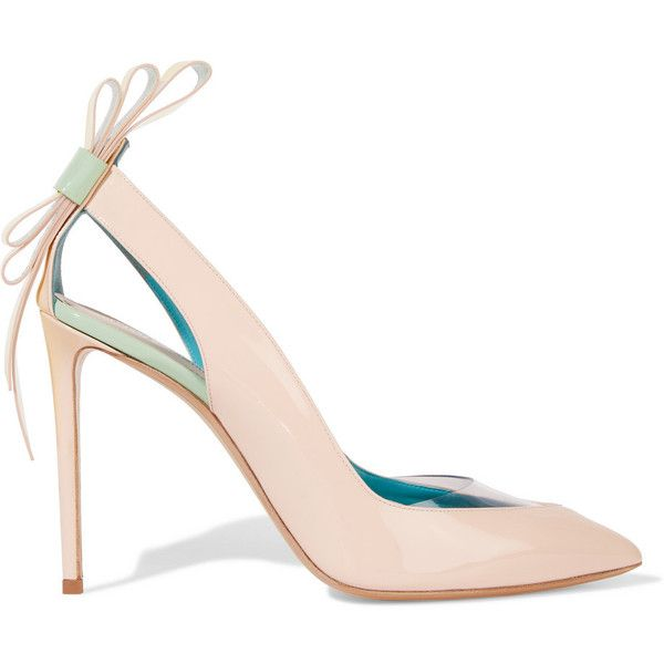 Nicholas Kirkwood Bow-embellished patent-leather pumps (1.078.490 COP) ❤ liked on Polyvore featuring shoes, pumps, heels, pastel pink, high heel shoes, pastel pink pumps, bow pumps, high heel pumps and pointy-toe pumps