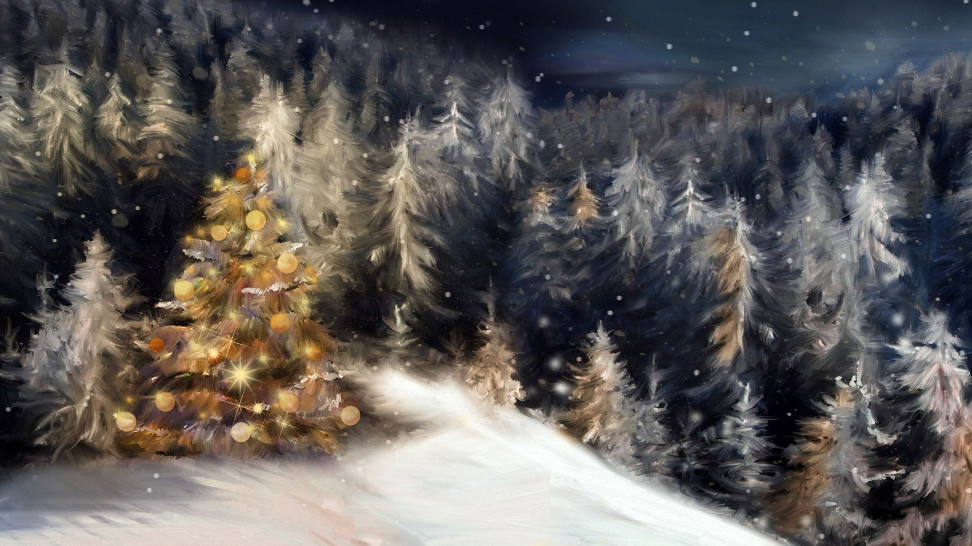 Download Wallpaper Holiday Snow Tree Winter Christmas Tree New Year Night Forest Section New Year Christmas In Resolution 1920x1080 Fond Ecran Noel