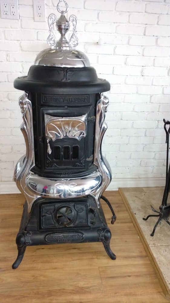 Antique Gurney Oxford wood / coal cylinder stove | Antiques, Home ...