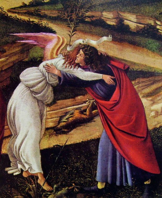Botticelli: Natività mistica, cm. 75, National Gallery di Londra. Particolare .