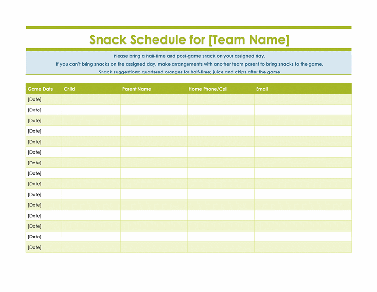 Snack sign up sheet for sports team | Take Me Out To The Ball Game ...