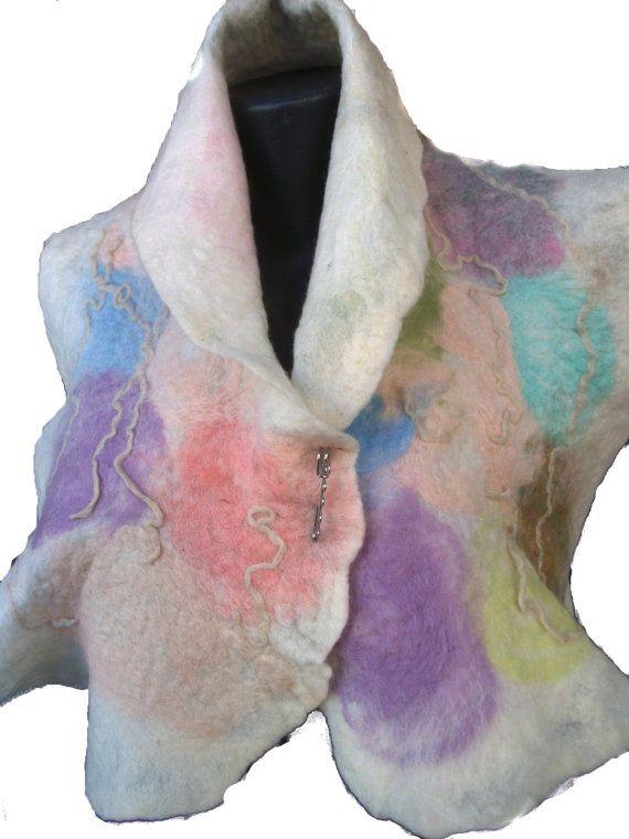 Merino Wool vest in Bright colors Unique Capelet by FeltWorld51